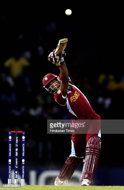 West Indies batsman Dwayne Bravo bats during the ICC T20 World Cup cricket semi final match between Australia and West Indies at R Premadasa Stadium...