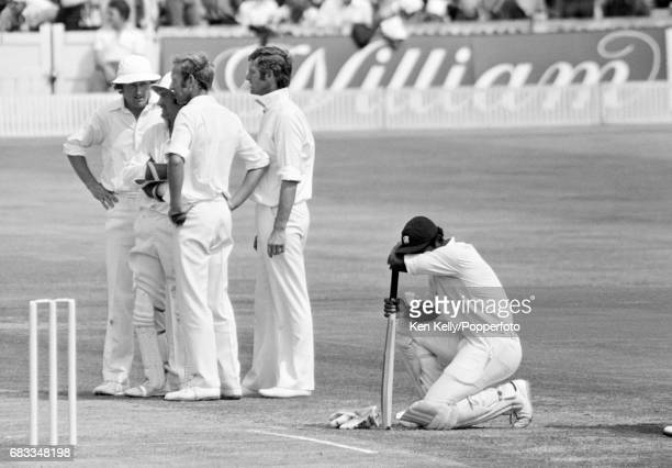 West Indies batsman Gordon Greenidge takes a rest during his innings of 134 in the 3rd Test match between England and West Indies at Old Trafford...