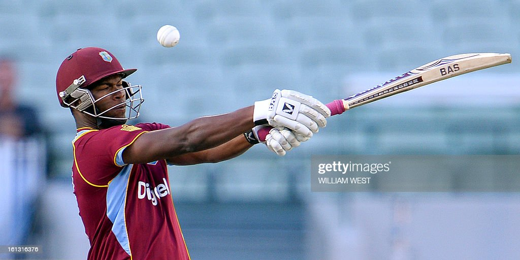 West Indies batsman Johnson Charles attempts to hook a delivery from the Australian bowling in their one-day cricket international played at the Melbourne Cricket Ground (MCG), on February 10, 2013. AFP PHOTO/William WEST IMAGE RESTRICTED TO EDITORIAL USE - STRICTLY NO COMMERCIAL USE