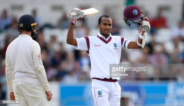 West Indies batsman Kraigg Brathwaite celebrates his century during day two of the 2nd Investec Test match between England and West Indies at...