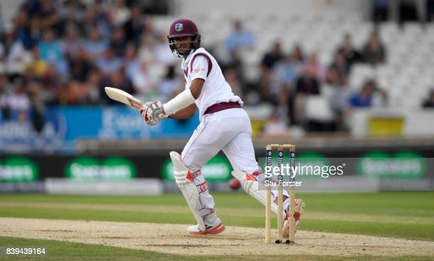 West Indies batsman Kraigg Brathwaite flicks a ball to the boundary during day two of the 2nd Investec Test match between England and West Indies at...