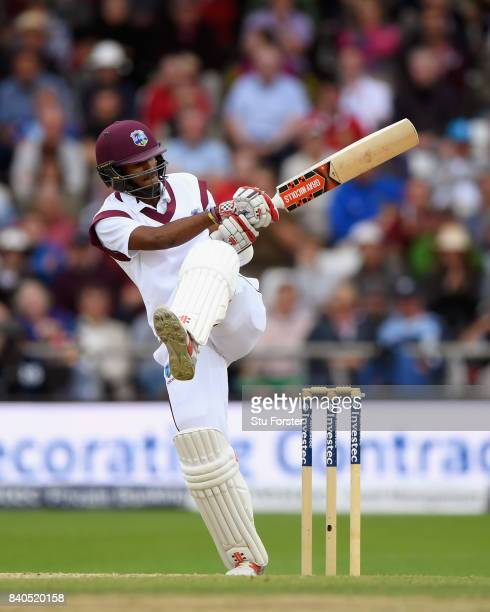 West Indies batsman Kraigg Brathwaite hits out during day five of the 2nd Investec Test Match between England and West Indies at Headingley on August...