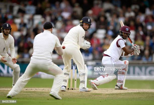 West Indies batsman Kraigg Brathwaite is caught at slip by Ben Stokes for 95 runs during day five of the 2nd Investec Test Match between England and...