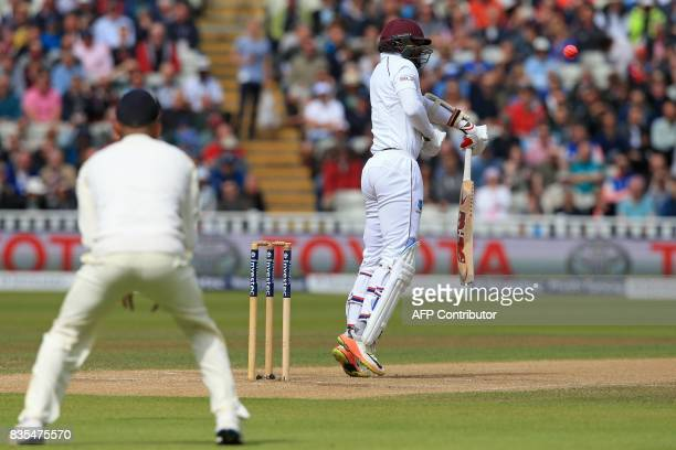 West Indies batsman Kyle Hope is caught after failing to control this shot off the bowling of England bowler James Anderson during play on day 3 of...