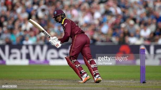West Indies batsman Shai Hope bats during the 1st Royal London One Day International match between England and West Indies at Old Trafford on...