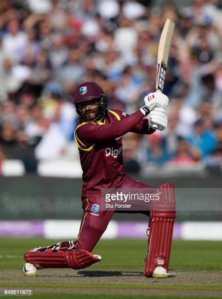 West Indies batsman Shai Hope drives to the boundary during the 1st Royal London One Day International match between England and West Indies at Old...