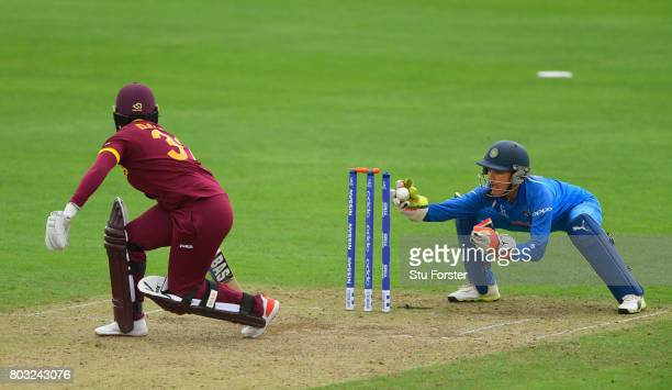 West Indies batsman Shanel Daley is stumped by Sushma Verma during the ICC Women's World Cup 2017 match between West Indies and India at The County...
