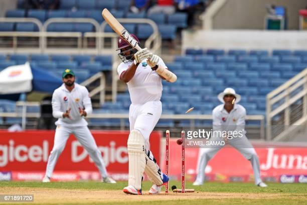 West Indies' batsman Shannon Gabriel is bowled off Pakistan's bowler Mohammad Amir on day three of the first Test match between West Indies and...