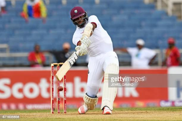West Indies' batsman Shannon Gabriel plays a shot on day two of the first Test match between West Indies and Pakistan at the Sabina Park in Kingston...