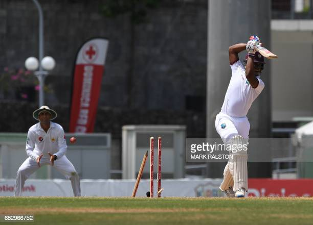 West Indies batsman Shimron Hetmyer is clean bowled by Mohammad Amir of Pakistan for 25 runs on the fifth day of play of the final test match at the...