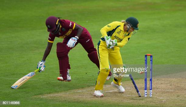 West Indies batsman Stefanie Taylor survives a run out attempt by wicketkeeper Aliyssa Healy during the ICC Women's World Cup 2017 match between...