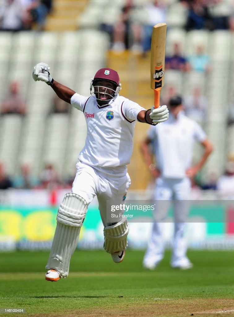 West Indies batsman <a gi-track='captionPersonalityLinkClicked' href=/galleries/search?phrase=Tino+Best&family=editorial&specificpeople=209064 ng-click='$event.stopPropagation()'>Tino Best</a> celebrates his half century during day four of the 3rd Investec Test match between England and West Indies at Edgbaston on June 10, 2012 in Birmingham, England.