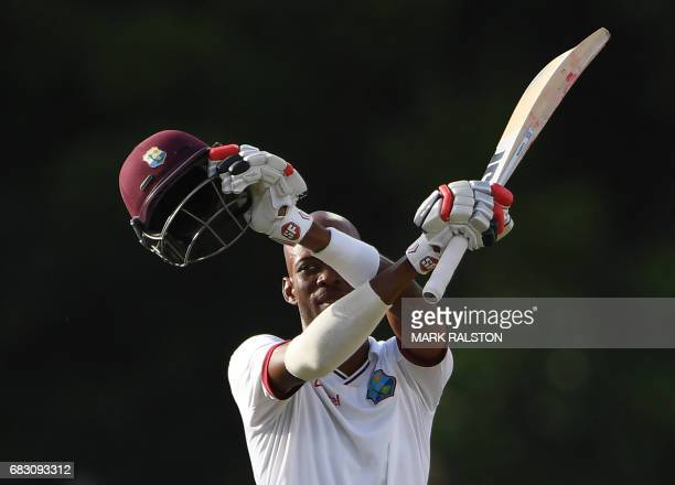 West Indies batsmen Roston Chase celebrates after scoring 100 against Pakistan on the fifth days play of the final test match at the Windsor Park...
