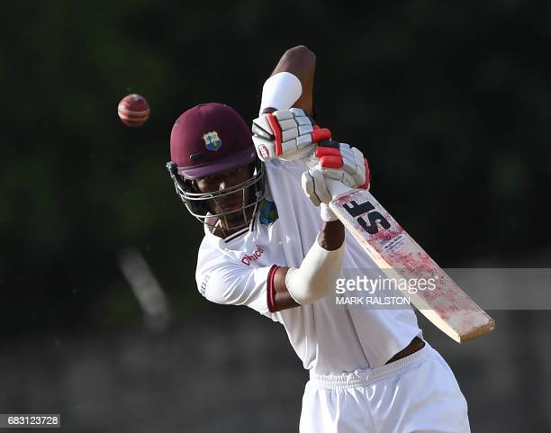 West Indies batsmen Roston Chase plays a shot before scoring his 100 against Pakistan on the fifth days play of the final test match at the Windsor...