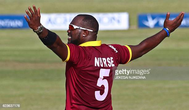 West Indies bowler Ashley Nurse celebrates a wicket during the second One Day International cricket match between Sri Lanka and West Indies at Harare...