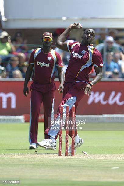 West Indies bowler Carlos Brathwhite unsuccesfully attempts to run out South African batsman David Miller during the 4th One Day International...