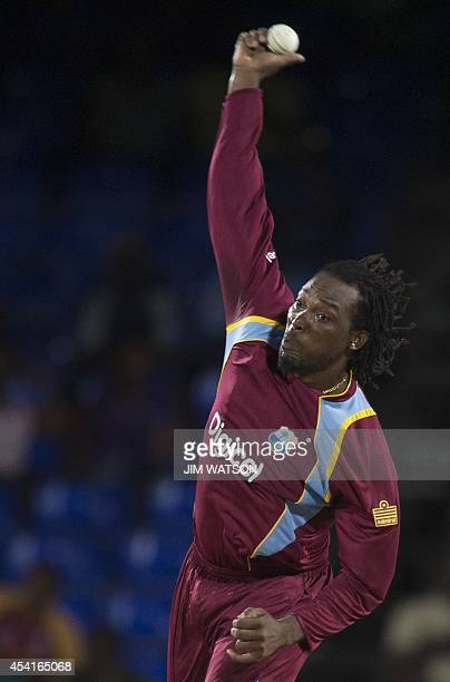 West Indies bowler Chris Gayle during the third One Day International between the West Indies and Bangladesh at the Warner Park cricket ground in...