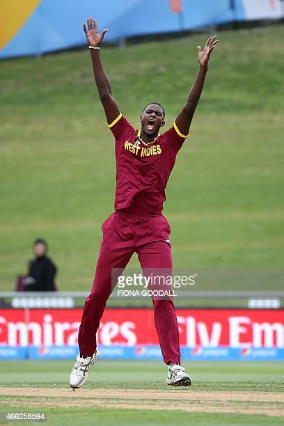 West Indies bowler Jason Holder appeals for a wicket during the Pool B 2015 Cricket World Cup match between West Indies and United Arab Emirates at...