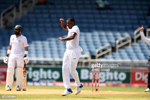 West Indies' bowler Shannon Gabriel celebrates dismissing Pakistan's batsman Asad Shafiq on day four of the first Test match between West Indies and...