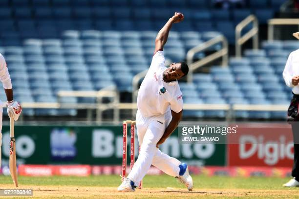 West Indies' bowler Shannon Gabriel delivers a ball on day four of the first Test match between West Indies and Pakistan at the Sabina Park in...