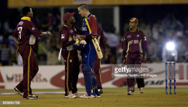 West Indies captain Brian Lara with England's Kevin Pietersen after the ICC Champions Trophy match at the Sardar Patel Stadium Ahmedabad India
