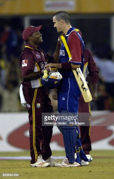 West Indies captain Brian Lara with England's Kevin Pietersen during the ICC Champions Trophy match at the Sardar Patel Stadium Ahmedabad India