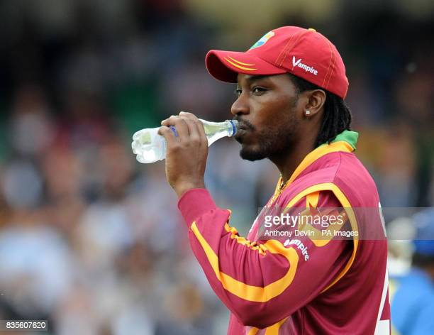 West Indies' captain Chris Gayle looks on during the ICC World Twenty20 Semi Final at The Oval London
