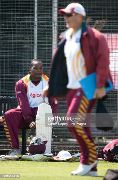 West Indies captain Chris Gayle watches coach John Dyson during the nets session at Riverside ChesterLeStreet Durham