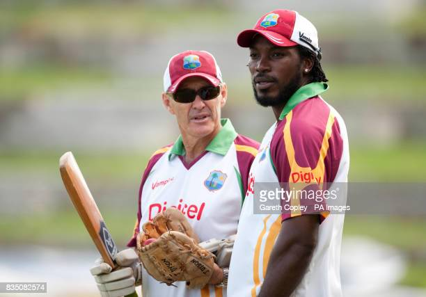 West Indies captain Chris Gayle with coach John Dyson during a nets practice session at the Sir Vivian Richards cricket Antigua