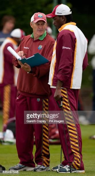 West Indies captain Chris Gayle with coach John Dyson during a nets session at Edgbaston Birmingham