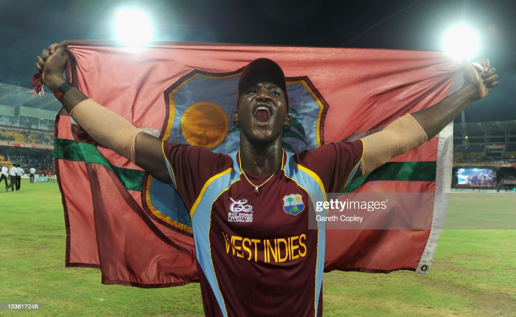 West Indies captain <a gi-track='captionPersonalityLinkClicked' href=/galleries/search?phrase=Darren+Sammy&family=editorial&specificpeople=2920912 ng-click='$event.stopPropagation()'>Darren Sammy</a> celebrates winning the ICC World Twenty20 2012 Final between Sri Lanka and the West Indies at R. Premadasa Stadium on October 7, 2012 in Colombo, Sri Lanka.