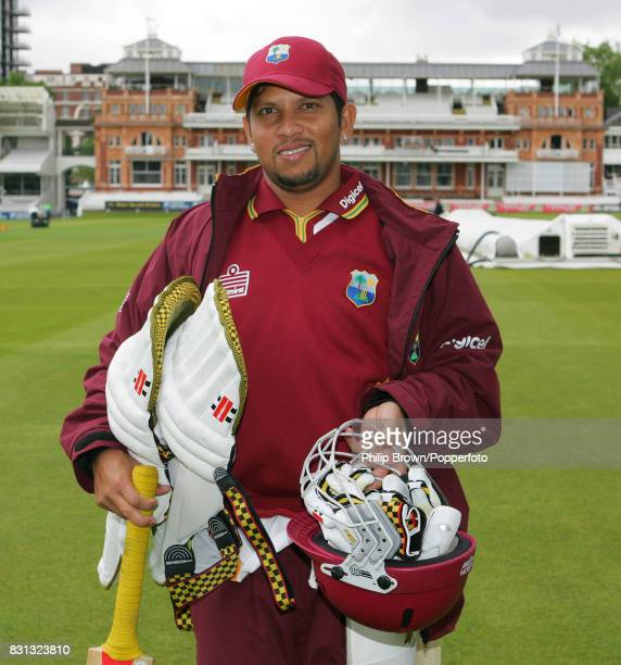 West indies captain Ramnaresh Sarwan walks across the ground to a training session in the indoor scholl before the 1st Test match between England and...