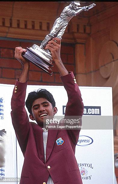 West Indies captain Tishan Maraj lifts the trophy after West Indies Under15s won the Costcutter U15 World Challenge Final between West Indies U15 and...