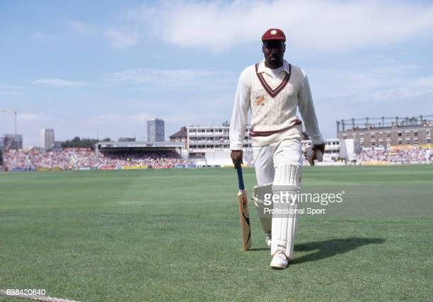 West Indies captain Viv Richards walks off the field after losing his wicket in the first innings of the 5th Test match between England and West...
