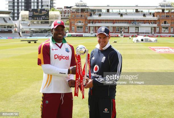 West Indies Captian Chris Gayle and England Captain Andrew Strauss with the npower Trophy following a practice session at Lord's Cricket Ground London