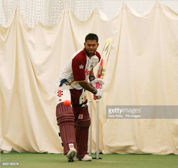 West Indies captian Shivnarine Chanderpaul during a Nets Practice Session at the ECB National Centre Loughborough
