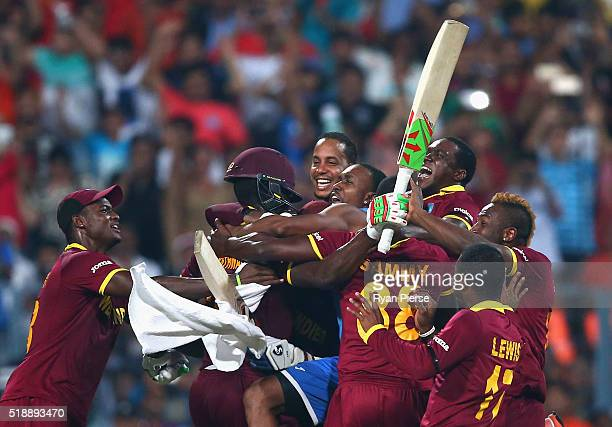 West Indies celebrate victory after Carlos Brathwaite of the West Indies hit the winning runs during the ICC World Twenty20 India 2016 Final match...
