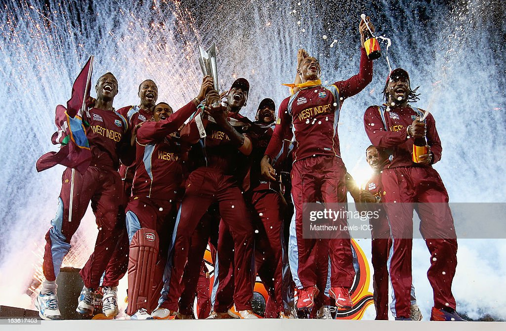 West Indies celebrate winning the ICC World Twenty20 2012 Final between Sri Lanka and West Indies at R. Premadasa Stadium on October 7, 2012 in Colombo, Sri Lanka.