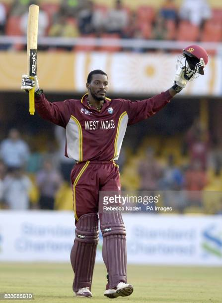 West Indies Chris Gayle celebrates his century during the ICC Champions Trophy match against England at the Sardar Patel Stadium Ahmedabad India