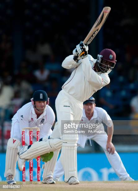 West Indies' Chris Gayle hits out during the fifth test at Queen's Park Oval Port of Spain Trinidad