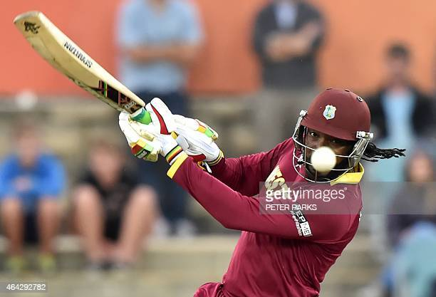 West Indies Chris Gayle plays a shot during the 2015 Cricket World Cup Pool B match between the West Indies and Zimbabwe at The Manuka Oval in...