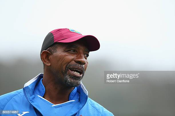 West Indies coach Phil Simmons looks on during a West Indies training session at Blundstone Arena on December 8 2015 in Hobart Australia