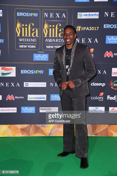 West Indies cricket player Dwayne Bravo arrives for the IIFA Awards July 15 2017 at the MetLife Stadium in East Rutherford New Jersey during the 18th...