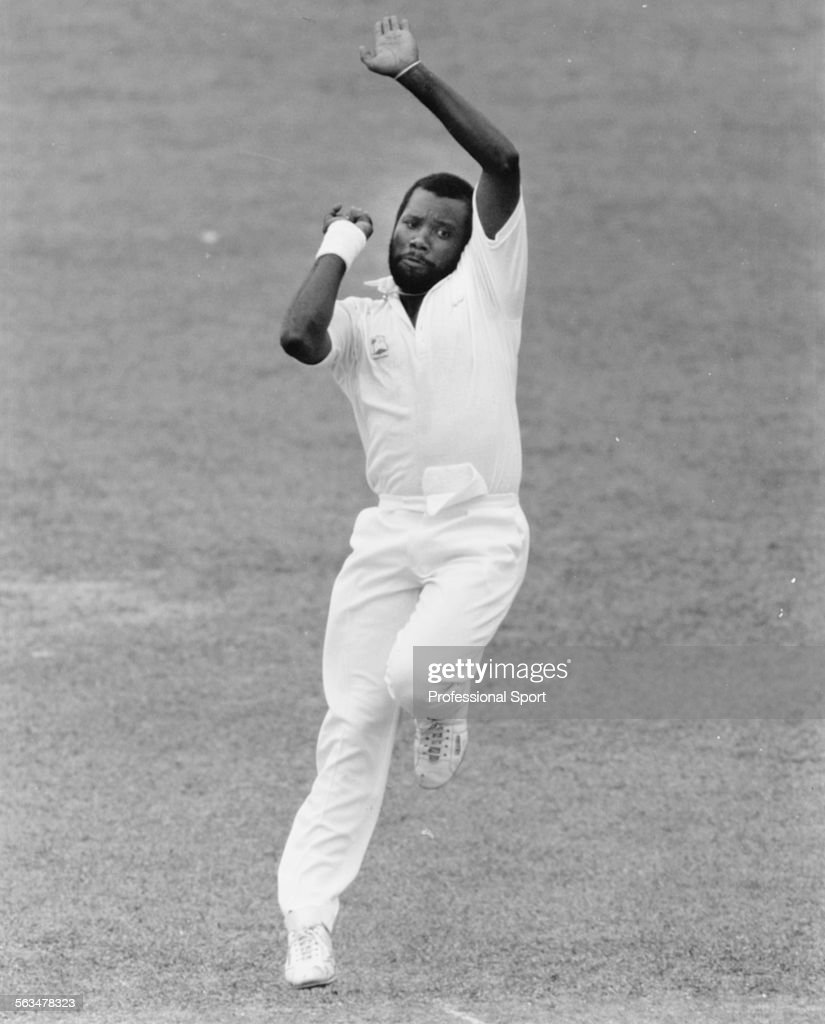West Indies cricket player Malcolm Marshall pictured bowling for the West Indies during a cricket match circa 1991