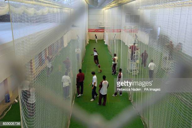 West Indies cricket team in action in the MCC Indoor School during a practice session at Lord's Cricket Ground St John's Wood London
