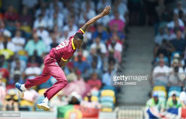 West Indies cricketer Alzarri Joseph delivers a ball during the final of the threematch One Day International series between England and West Indies...