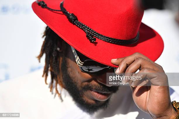 West Indies Cricketer Chris Gayle arrives at the 2017 Australian Open party at Crown on January 15 2017 in Melbourne Australia