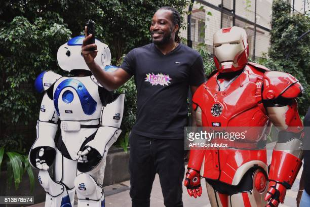 West Indies cricketer Chris Gayle attends a promotional event to announce the partnering of the cricketer with Iona Entertainment and Virtual Gaming...