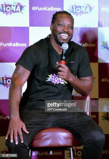 West Indies cricketer Chris Gayle speaks during a press conference to announce the partnering of the cricketer with Iona Entertainment and Virtual...