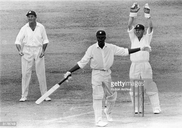 West Indies cricketer Clive Lloyd at the end of an innings late 1960's